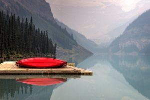 canoe, peaceful lake
